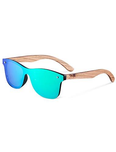 Gafas de Sol Polarizadas Hombre y Mujere, UV400 Protection, Gafas Ligeras con Patillas de Madera (green)