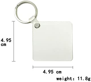 Retermit 10 pcs DIY Sublimation Wooden Hard Board Key Rings White Blank MDF Key Chain (Square)