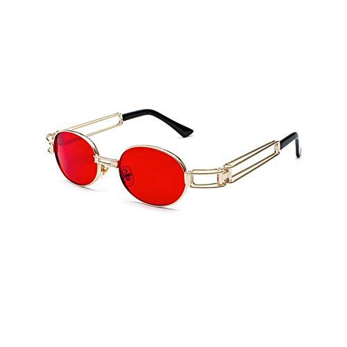 ZRTYJ Sonnenbrille Vintage Steampunk Sonnenbrille Rot Herren Accessoires Metallrahmen Oval Sonnenbrille Weiblich Rosa Gelb Retro Style