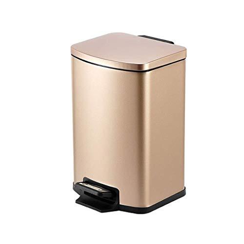 YVX Mülleimer, Mülleimer - Mülleimer, Pedalbehälter für die Küche, Edelstahl, Badbehälter mit Deckel und abnehmbarem Inneneimer (Farbe: Champagnergold, Größe: 5 l), Aschenbecher, Mülleimer, Cham