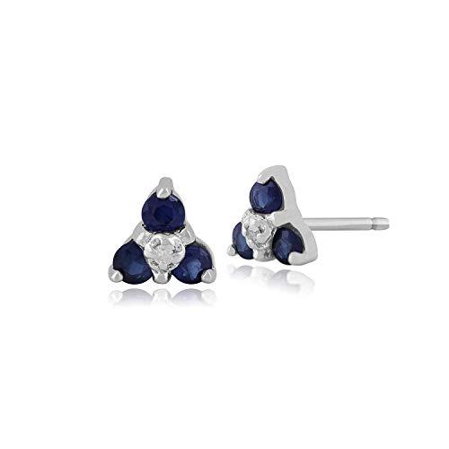 Gemondo Zaffiro Orecchini A Perno, 9ct Oro Bianco 0.3ct Zaffiro E Diamante Tre Pietre Orecchini Disposti A Grappolo