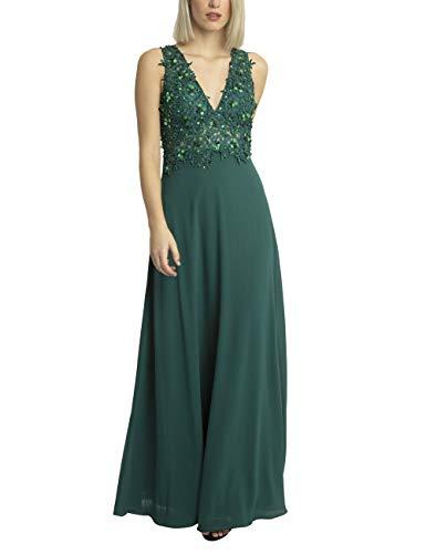 APART glamouröses Damen Kleid lang, Abendkleid, Ballkleid, großer Rückenausschnitt, Blütenspitze, mit Perlen und Pailletten, Chiffon, dunkelgrün, 38