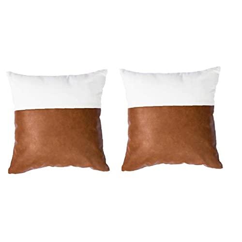 Hainice Caja de Almohada de Cuero sintética Cubierta de Almohada Cuadrada Cama de sofá Funda de Almohada Decorativa 45x45cm 2pcs