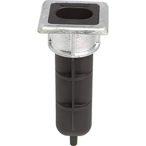 Locinox EGS Butée de sol pour barre VSF 70 x 65 x 6 mm, hauteur 166,5 mm, noir/galvanisé à chaud, 65 x 70 x 166,5 mm