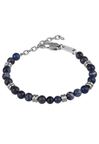 BREIL - Bracciale da Uomo Collezione ARTHA TJ2882 - Gioielli Uomo - Bracciale in Pietra Sodalite Blu e Acciaio Satinato - 22 cm