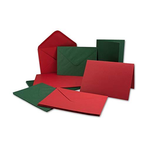 Kartenpaket DIN A6 + C6 in Rot und Grün - 50 Doppelkarten und 50 Briefumschläge - Mit 50 Einlege-Faltblättern - Karten mit Strukturprägung