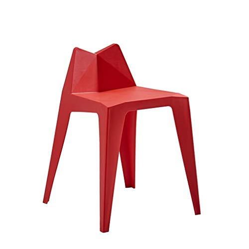 Uioy Taburete apilable de plástico - Silla Moderna de la Moda Minimalista, Silla de salón hogar, heces jardín al Aire Libre (Color : Red)
