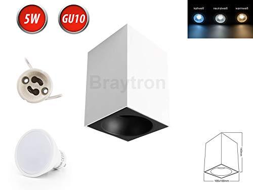 Deckenleuchte BETA-SS Aufbaustrahler Lampe Ø100mm Aufputz Leuchte Strahler mit GU10 5W Warmweiß LED Leuchtmittel Eckig Weiß/Schwarz