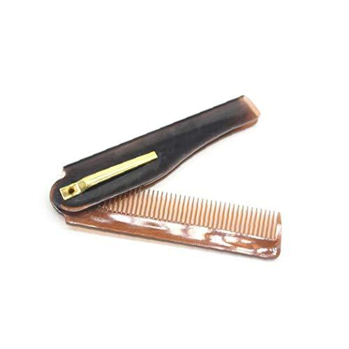 1pc Peigne Voyage Portable pliant en plastique Peigne Peigne de poche compact cheveux Beaux dents peigne Mans Styling Trousse de toilette cheveux (brun)