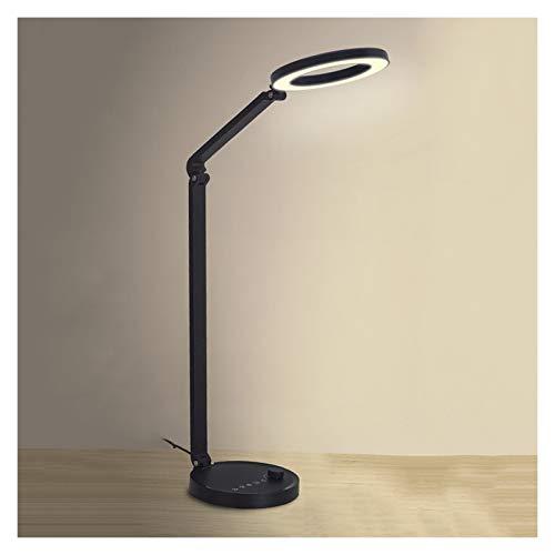 Lámpara de mesa Lámpara de escritorio LED de la lámpara de escritorio 10W con la lámpara de noche del dormitorio del interruptor del pulsador, la temperatura de color ajustable, la función del tempori