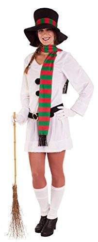 Karneval-Klamotten Schneemann Kostüm Damen Schneefrau Kleid Hut Schal Gürtel Fasching Snowman Erwachsene Damenkostüm