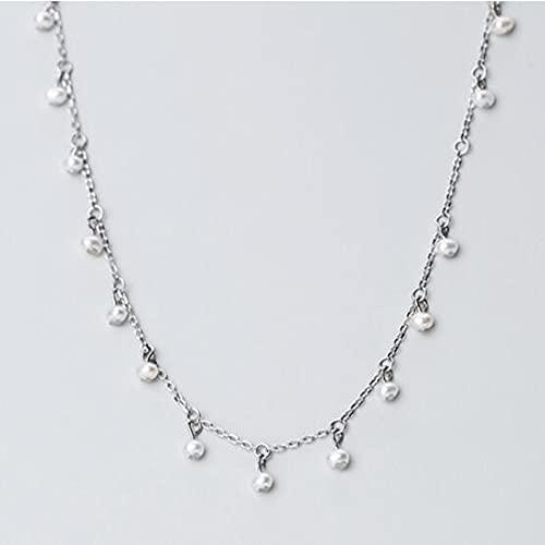 MTTN Trustdavis Genuine 925 Sterling Silver Minimalist Elegant Pearl Short Clavicle Necklace for Women Wedding Jewelry Gift DA1221 (Gem Color: Silver)