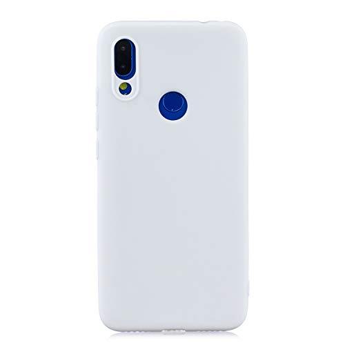 cuzz Funda para Xiaomi Redmi Note 7+{Protector de Pantalla de Vidrio Templado} Carcasa Silicona Suave Gel Rasguño y Resistente Teléfono Móvil Cover-Blanco