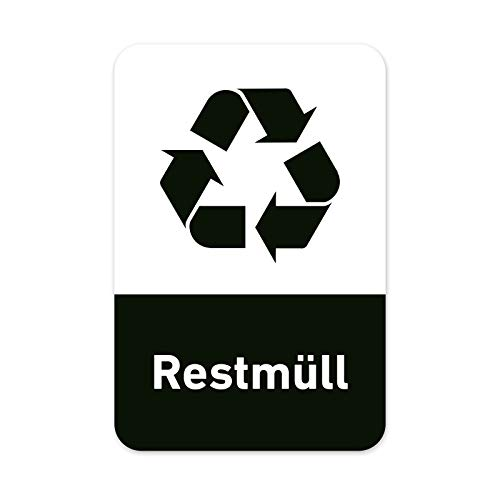 Recycling Aufkleber 8er Set Restmüll Mülltonnen Mülleimer (5x7,5cm)