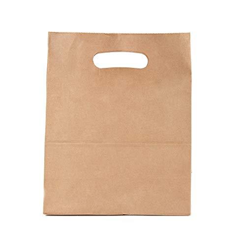 Kraft milieuvriendelijk bruin papier, handpas- en beveiligingslijm draagtas, 28 x 15 x 28 cm, 70 gr, 50 stuks