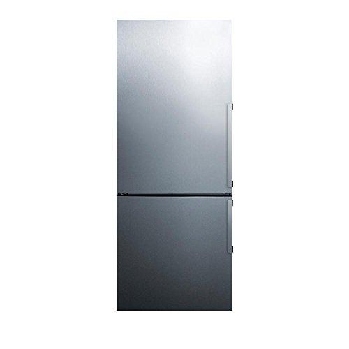 Summit Appliance FFBF286SSLHD 28' Wide Counter Depth Bottom Freezer Refrigerator, Left Hand Doors, Frost-free Operation, Wine shelf, Interior LED Lighting, Ultra Quiet Operation, Open Door Alarm