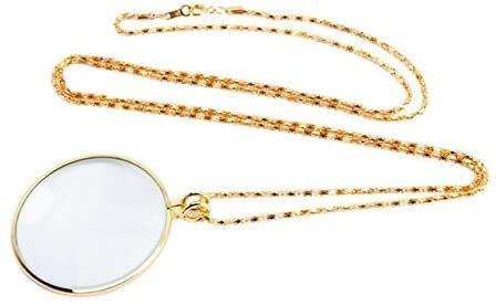 Magnifying Glass for Reading Decorative Monocle Necklace with 5X Magnifier Magnifying Glass Pendant Gold Silver Plated Chain Necklace for Women Jewelry (Color : Gold)