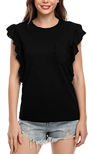 MISS MOLY Camisas Mujer Verano Casual Manga Corta Camisetas Manga con Volantes Bolsillo en el Pecho Negro Large
