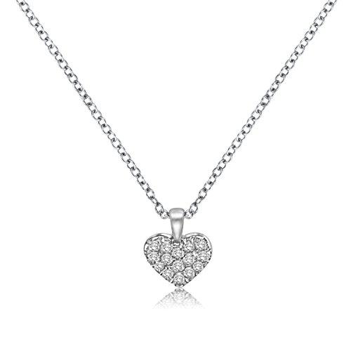 aion Diamant Anhänger Herz mit Kette 750 Collier 18K Weißgold Brillant 0,07 ct Diamantkette Damen