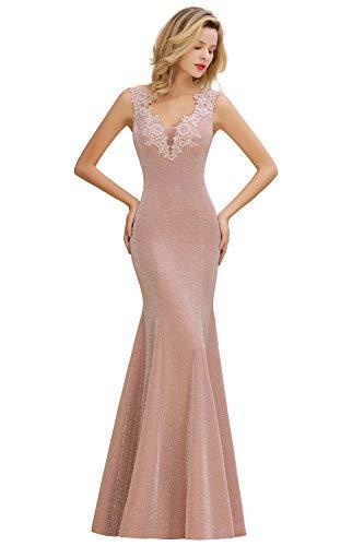 MisShow Abendkleider Damen schönes Festliches Ballkleid Satin Abiballkleider Lang Prom Kleid Party Cocktail Kleider Altrosa Gr.42