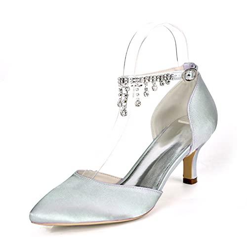 Verano Zapatos de Boda, Sexy Zapatos de Tacón para Mujer con Pedrería...