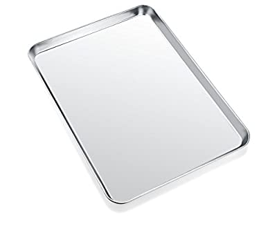 Baking Sheet, Zacfton Cookie Sheet Stainless Steel Toaster Oven Tray Pan Rectangle Size 12.5 x 10 x 1 inch, Non Toxic & Healthy,Superior Mirror Finish & Easy Clean, Dishwasher Safe (12inch)