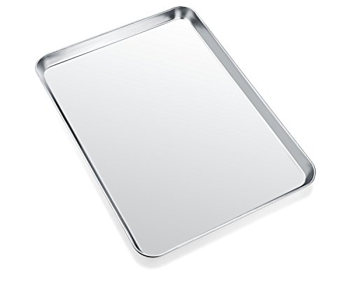 Baking Sheet, Zacfton Cookie Sheet Stainless Steel Toaster Oven Tray Pan Rectangle Size 12.5 x 10 x 1 inch, Non Toxic & Healthy,Superior Mirror Finish & Easy Clean, Dishwasher Safe