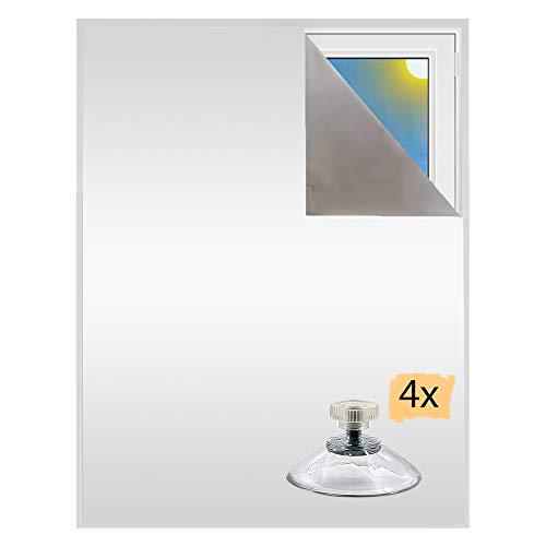 Verdunklungsstoff inkl. Saugnäpfe | Sonnenschutz zu 100% verdunkelnd | Folie mit Thermobeschichtung | Meterware für Fenster und Dachfenster lichtundurchlässig | Blackout (Perlweiß mit Saugnäpfen)