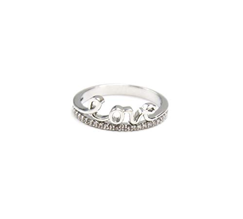 Oh My Shop BG189E – Knuckle Ring with Love Message Silver Metal and Cubic Zirconia Stones Band T18