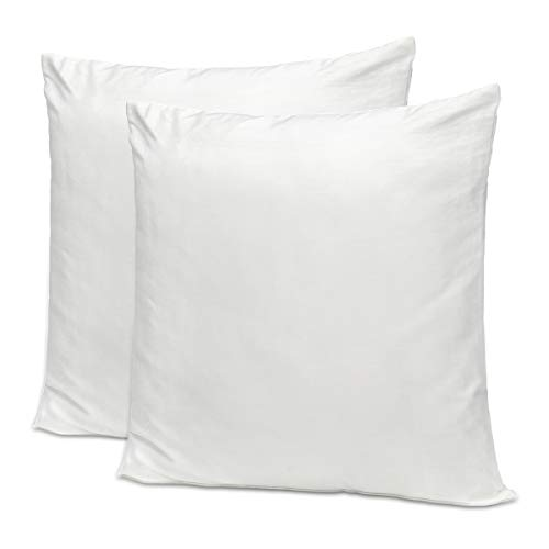 NKTM 100% Cotton 205 Thread Count 18inx18in Zippered Pillow Protector Covers - Set of 2(Cover ONLY Pillow Inner NOT Included) (White)