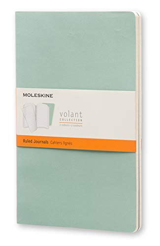"""Moleskine Volant Journal, Soft Cover, Large (5"""" x 8.25"""") Ruled/Lined, Sage Green, 96 Pages (Set of 2)"""