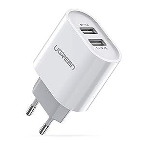 UGREEN Cargador USB Pared con Dos USB Puertos 5V 2.4A y 5V 1A Enchufe Multipuerto Europeo para iPhone XR, XS, X, 8, Samsung Galaxy A70, S7, J6, Xiami Redmi Note 7, Note 6 Pro, Huawei P10 Lite – Negro