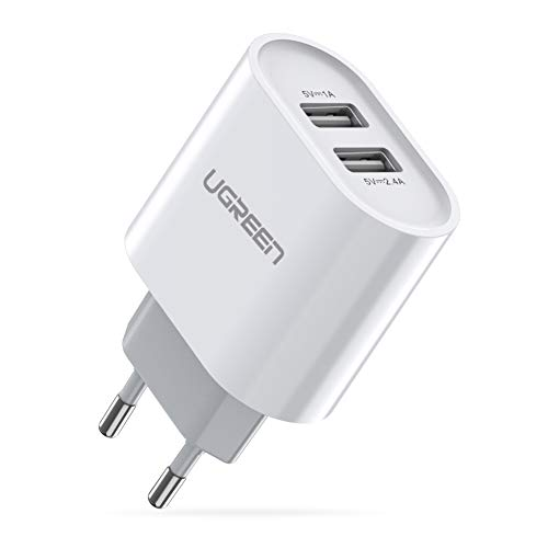 UGREEN USB lader 17W 3,4A USB-laadadapter 2 poorten voeding met intelligente technologie compatibel voor iPhone 11 / X / 8Plus / 8/7, iPad Air, Galaxy S9 plus / S8 / S7, camera's, mobiele telefoons, tablets wit