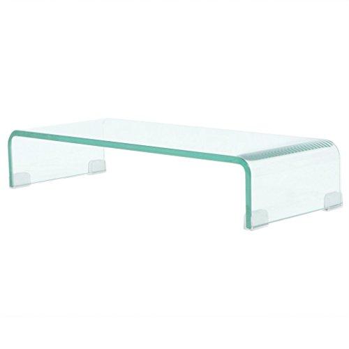 Festnight TV-Tisch aus Glas Bildschirmerhöhung Monitortisch Glastisch Fernsehtisch TV-Board Transparent 60x25x11cm