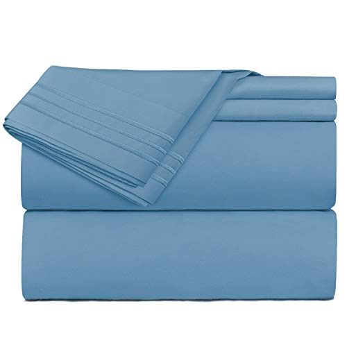 Clara Clark Premier 1800 Series 4 Piece Sheet Set Deep Pocket Brushed Microfiber, Wrinkle, Fade & Stain Resistant, Full Size, Blue Heaven
