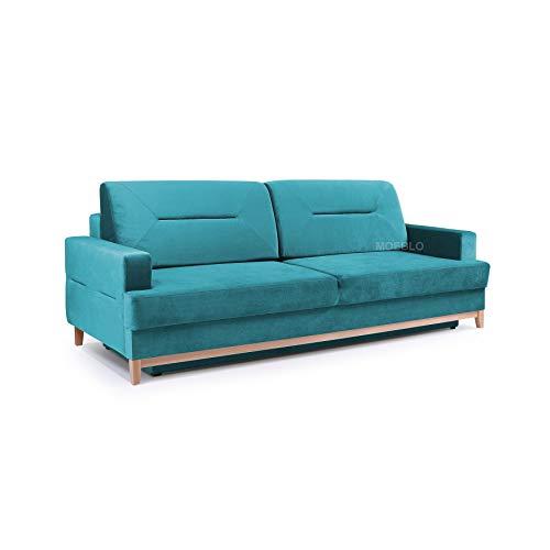 mb-moebel Velours Sofa mit Holzrahmen Couch mit Schlaffunktion Wohnzimmer Schlaffsofa LOFT (Türkis)