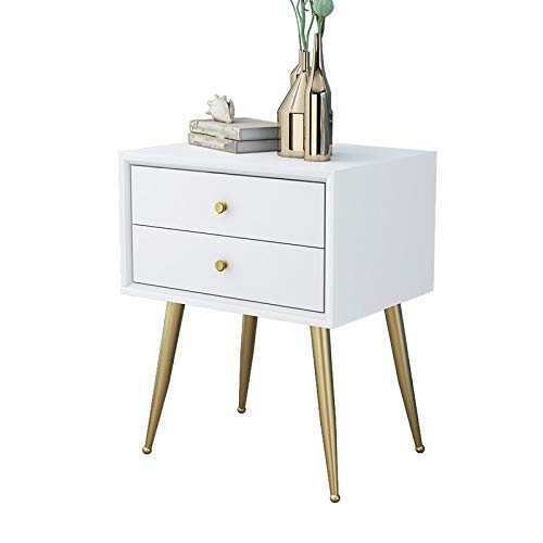 FENXIXI Mesita de noche de madera maciza nórdica con doble cajón diseño mesita de noche, mesa de café, mini mesita de noche, color blanco