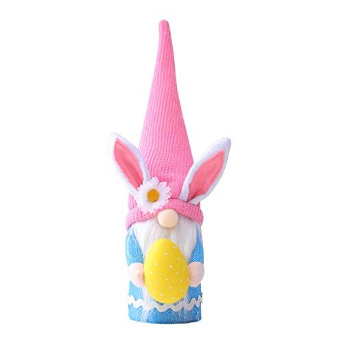 UEXCN Huevos de Pascua Gnomo de conejo hecho a mano sueco Tomte Rabbt Juguetes de peluche Muñeca Primavera Regalo Decorar el hogar