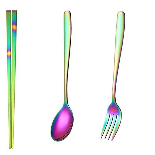 Conjunto de vajillas Cubiertos de viaje Set Camping Vajilla Reutilizable Utensilios Cuchara Tenedor Chopsticks Cocina Gadgets 1033 (Color : Camouflage B)