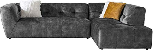 """Acanva Luxury Mid-Century Velvet Tufted Low Back Sofa Set L-Shape 2-Piece Living Room Couch, 113"""" W Right Hand Facing Sectional, Grey"""
