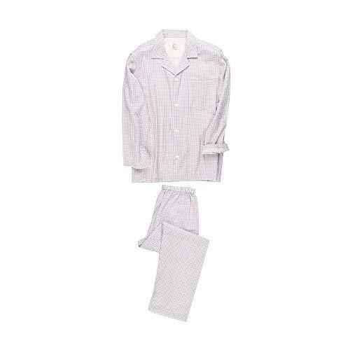 Herren- und Damen-Pyjamas mit kleinen Gitternähten, Doppelschicht-Pyjamas aus Baumwolle mit Langen Ärmeln
