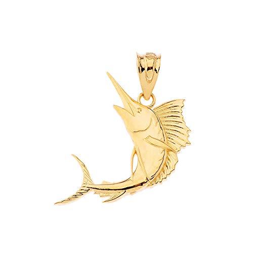 Sea Life Collection 10Kゴールド マーリン ソードフィッシュ セイヨウフィッシュ 航海 深海 魚 ペンダント チャーム ネックレス