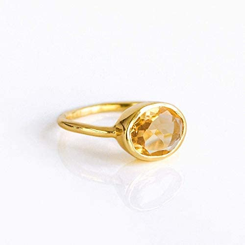 Citrine Oval ring stackable ring Vermeil Gold or silver bezel set ring oval ring yellow gemstone product image
