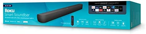 Roku Smart Soundbar, 4K/HD/HDR Streaming Media Player & Exceptional Audio Includes Roku Voice Remote