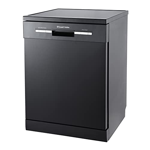 Russell Hobbs Black Full Size, 60centimetre Wide Dishwasher, 12 Place Settings, RHDW3B, Free 2 Year Guarantee
