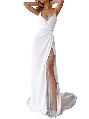 ORANDESIGNE Abendkleid Damen Lang Elegant Ballkleid V-Ausschnitt Maxikleid Sommerkleid Taillenbankettkleid Årmelloses Cocktailkleid Split Kleid Hohe Taille Weihnachtskleider C Weiß XXL