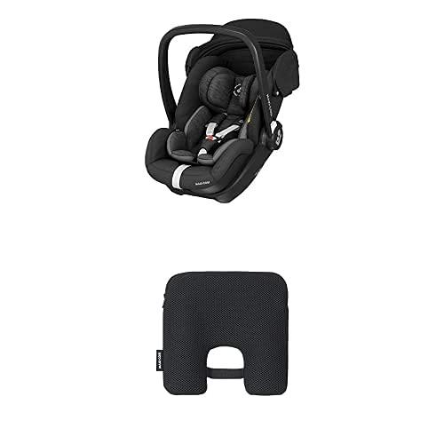 Maxi-Cosi Marble Silla de coche para bebé de grupo 0+, silla de auto reclinable con base isofix incluida,desde nacimiento hasta 13 meses, Negro + Dispositivo antiabandono para silla de coche, Negro
