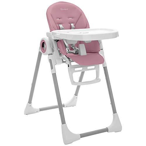 Kinderhochstuhl LOVIS mitwachsender Hochstuhl klappbar 5-fach höhenverstellbar - vom Baby bis zum Kleinkind (Malve)
