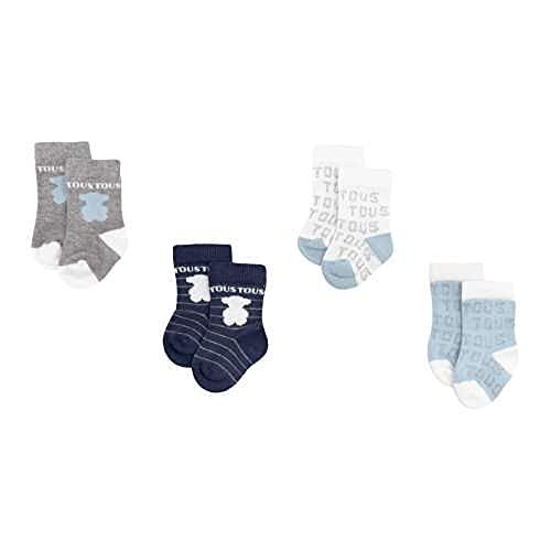 TOUS BABY - Set 4 calcetines variados, con logo TOUS para tu Bebé. Color Celeste (0 a 3 meses)