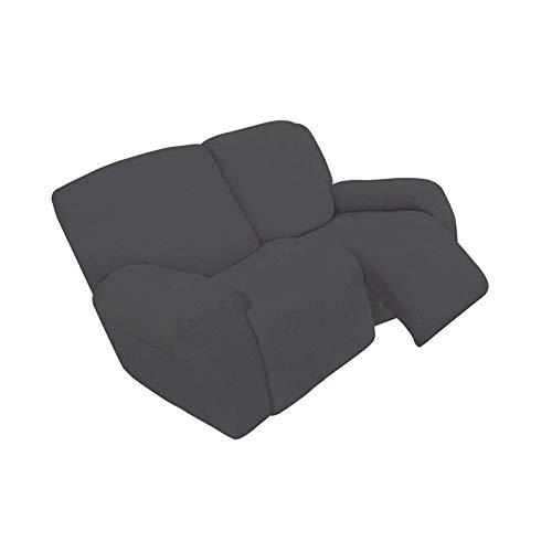 YuuHeeER 6 fundas para sofá reclinable de 2 plazas, antideslizantes, de elastano, color gris oscuro